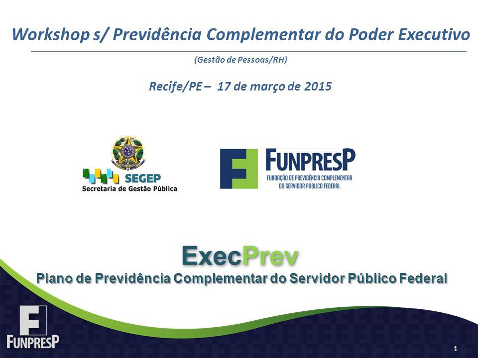 Plano de Previdência Complementar do Servidor Público Federal ExecPrev Workshop s/ Previdência Complementar do Poder Executivo (Gestão de Pessoas/RH)