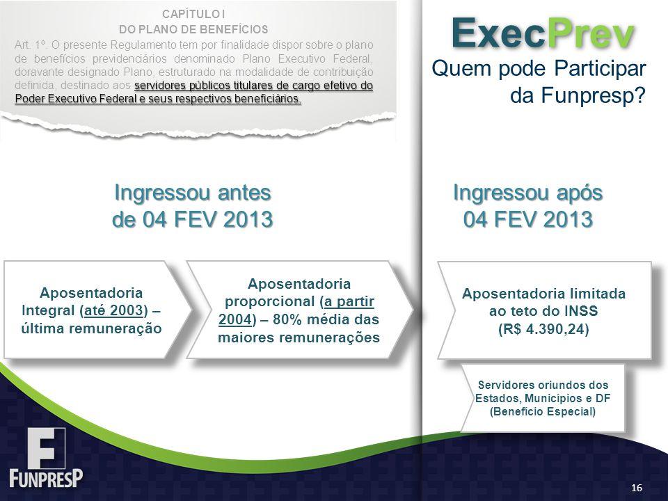 Quem pode Participar da Funpresp? ExecPrev Aposentadoria Integral (até 2003) – última remuneração Aposentadoria limitada ao teto do INSS (R$ 4.390,24)