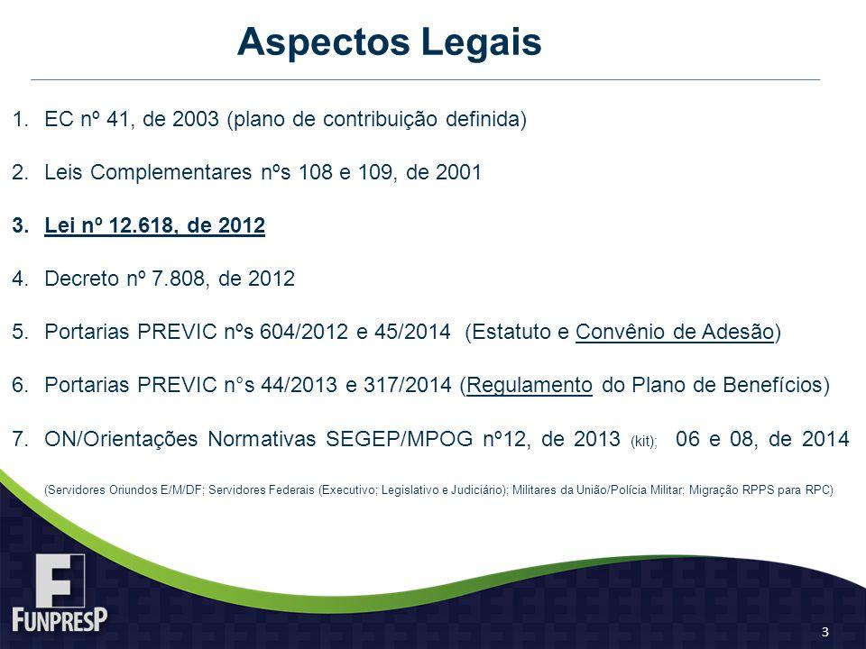 Aspectos Legais 1.EC nº 41, de 2003 (plano de contribuição definida) 2.Leis Complementares nºs 108 e 109, de 2001 3.Lei nº 12.618, de 2012 4.Decreto nº 7.808, de 2012 5.Portarias PREVIC nºs 604/2012 e 45/2014 (Estatuto e Convênio de Adesão) 6.Portarias PREVIC n°s 44/2013 e 317/2014 (Regulamento do Plano de Benefícios) 7.ON/Orientações Normativas SEGEP/MPOG nº12, de 2013 (kit); 06 e 08, de 2014 (Servidores Oriundos E/M/DF; Servidores Federais (Executivo; Legislativo e Judiciário); Militares da União/Polícia Militar; Migração RPPS para RPC) 3