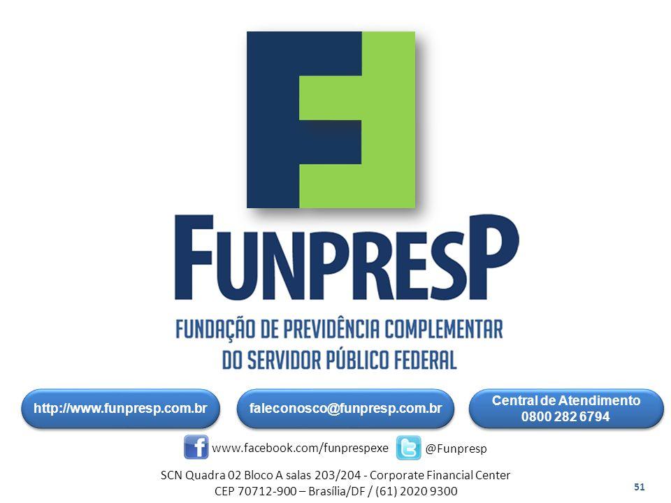 http://www.funpresp.com.br Central de Atendimento 0800 282 6794 Central de Atendimento 0800 282 6794 www.facebook.com/funprespexe @Funpresp SCN Quadra 02 Bloco A salas 203/204 - Corporate Financial Center CEP 70712-900 – Brasília/DF / (61) 2020 9300 faleconosco@funpresp.com.br 51