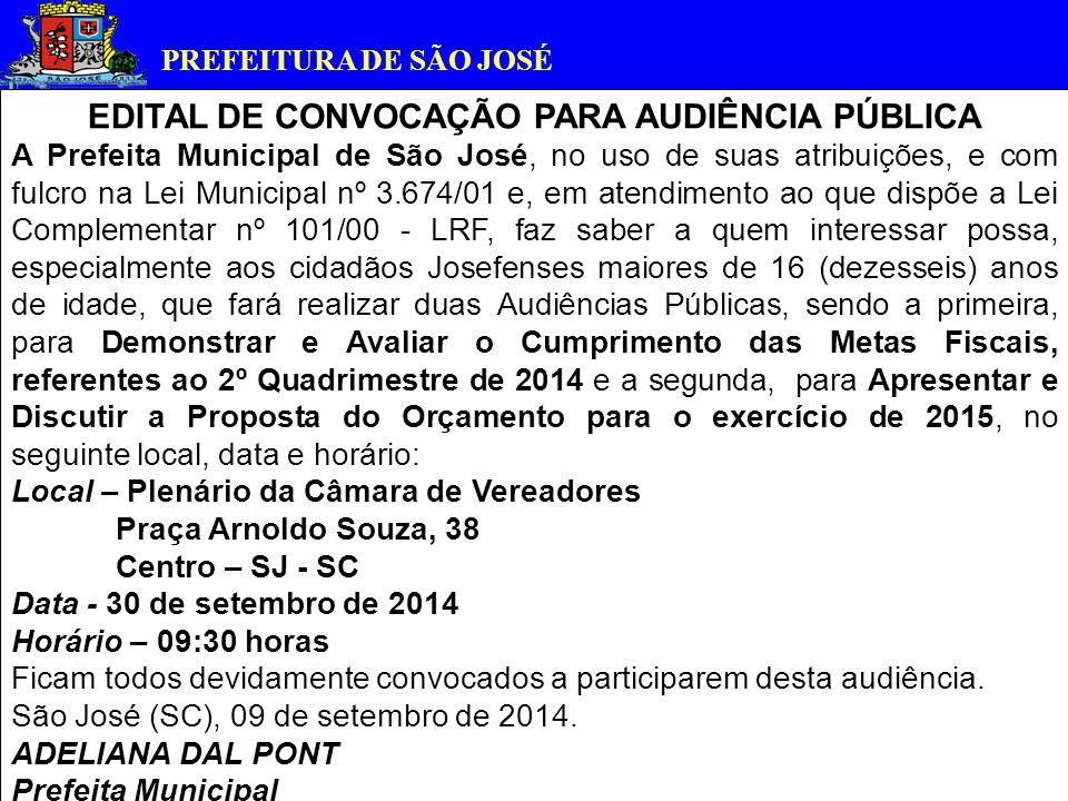 PREFEITURA DE SÃO JOSÉ AUDIÊNCIA PÚBLICA: Demonstrar e Avaliar o Cumprimento das Metas Fiscais referentes ao 2º quadrimestre de 2014