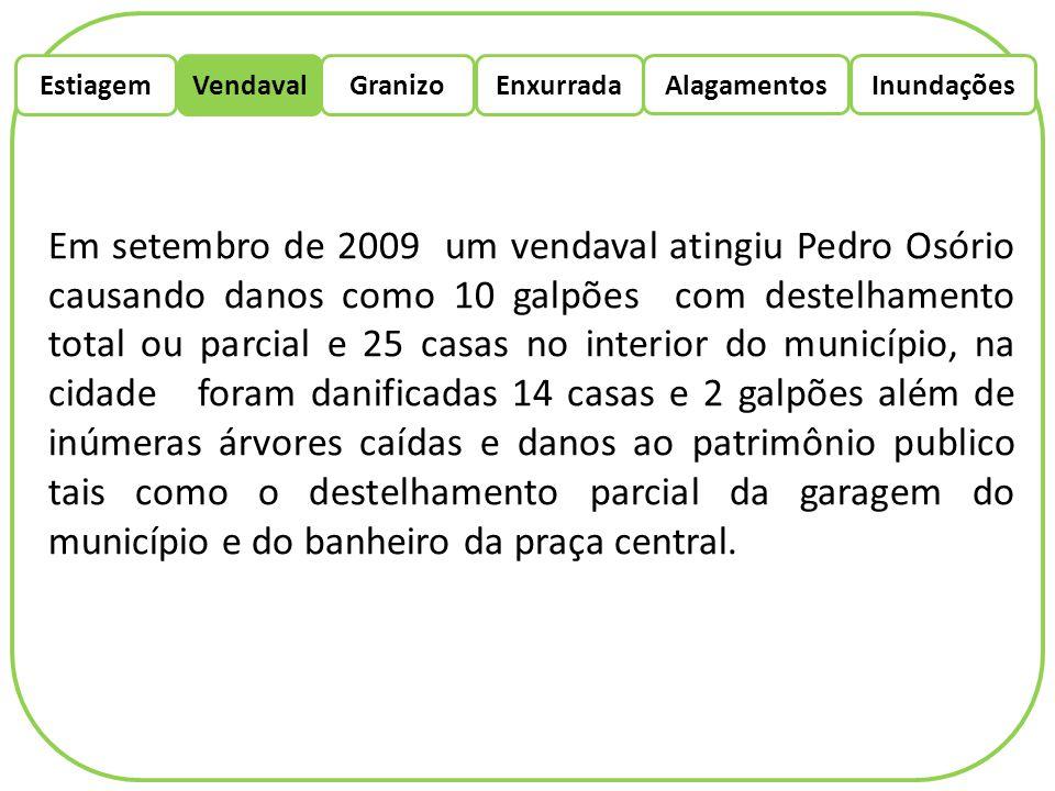 EstiagemEnxurradaVendaval Alagamentos Granizo Inundações Em setembro de 2009 um vendaval atingiu Pedro Osório causando danos como 10 galpões com deste