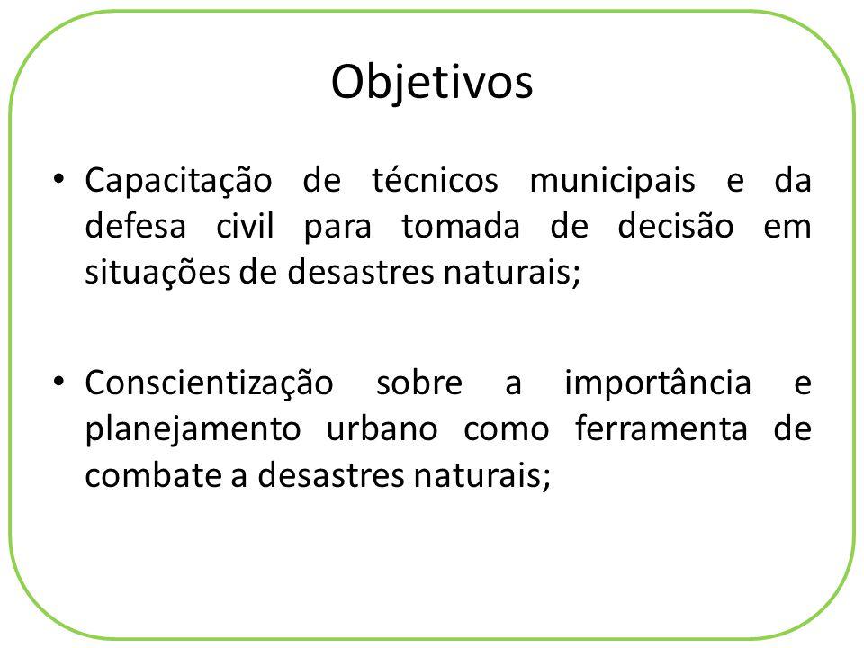 Objetivos Capacitação de técnicos municipais e da defesa civil para tomada de decisão em situações de desastres naturais; Conscientização sobre a impo