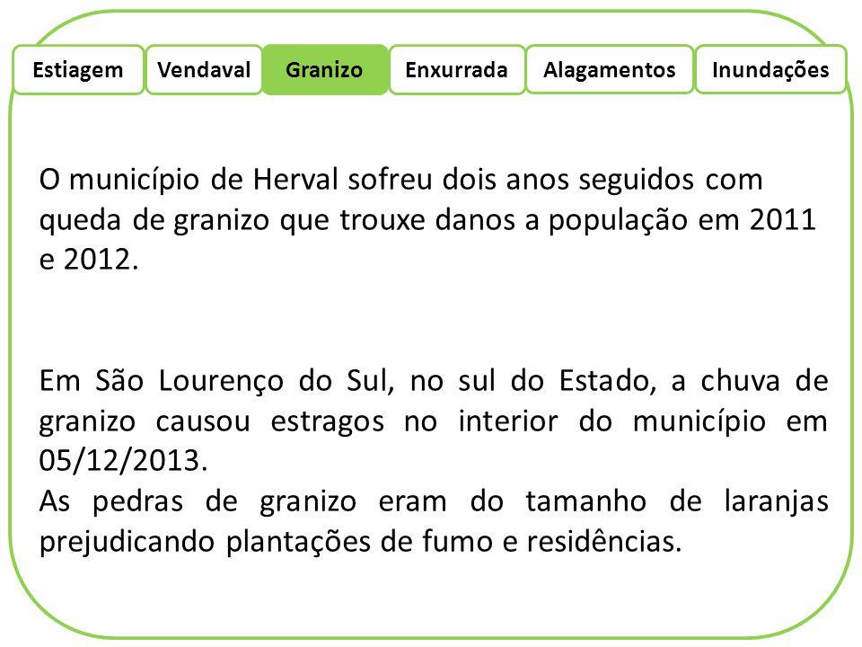 EstiagemEnxurradaVendaval Alagamentos Granizo Inundações O município de Herval sofreu dois anos seguidos com queda de granizo que trouxe danos a popul