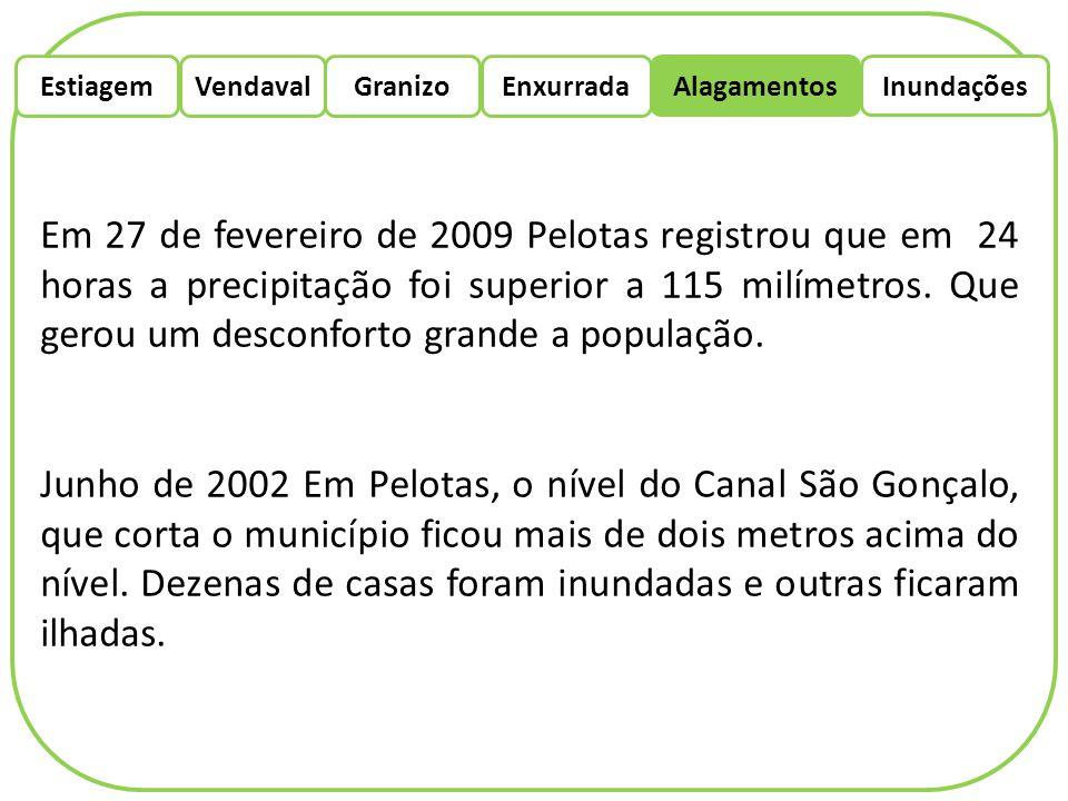 EstiagemEnxurradaVendaval Alagamentos Granizo Inundações Em 27 de fevereiro de 2009 Pelotas registrou que em 24 horas a precipitação foi superior a 11