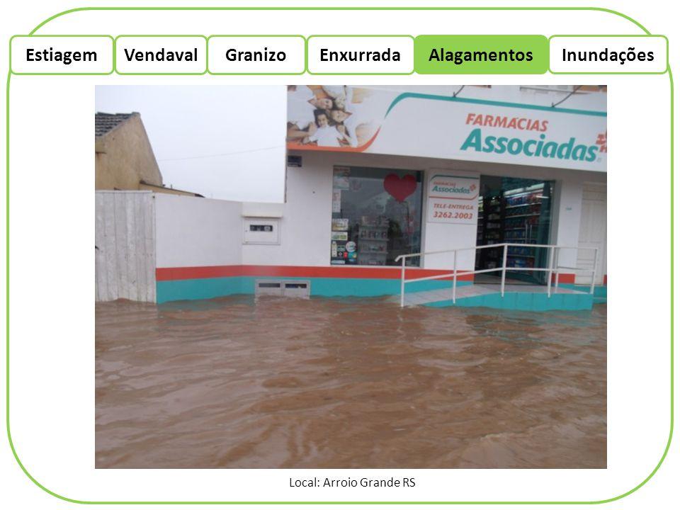 EstiagemEnxurradaVendaval Alagamentos Granizo Inundações Local: Arroio Grande RS
