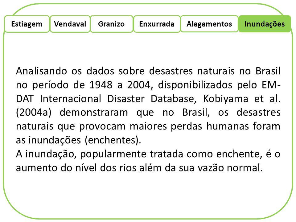 EstiagemEnxurradaVendaval Alagamentos Granizo Inundações Analisando os dados sobre desastres naturais no Brasil no período de 1948 a 2004, disponibili