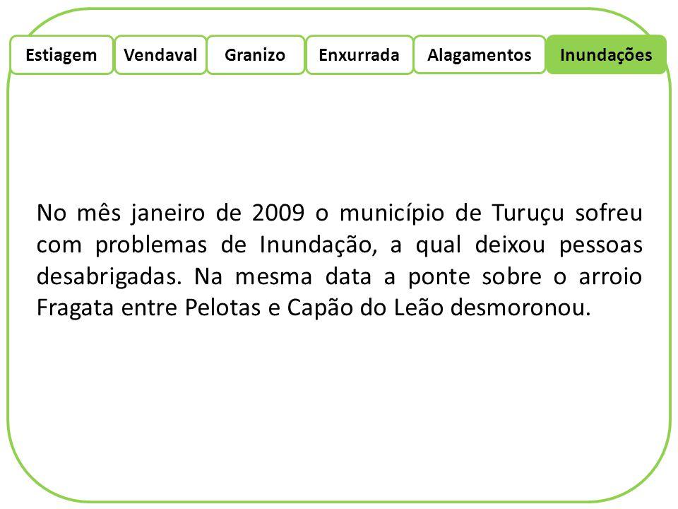 EstiagemEnxurradaVendaval Alagamentos Granizo Inundações No mês janeiro de 2009 o município de Turuçu sofreu com problemas de Inundação, a qual deixou