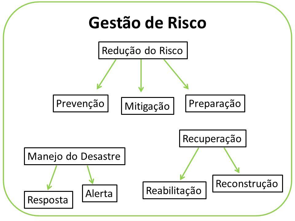 Gestão de Risco Prevenção Mitigação Preparação Alerta Resposta Reabilitação Reconstrução Redução do Risco Manejo do Desastre Recuperação