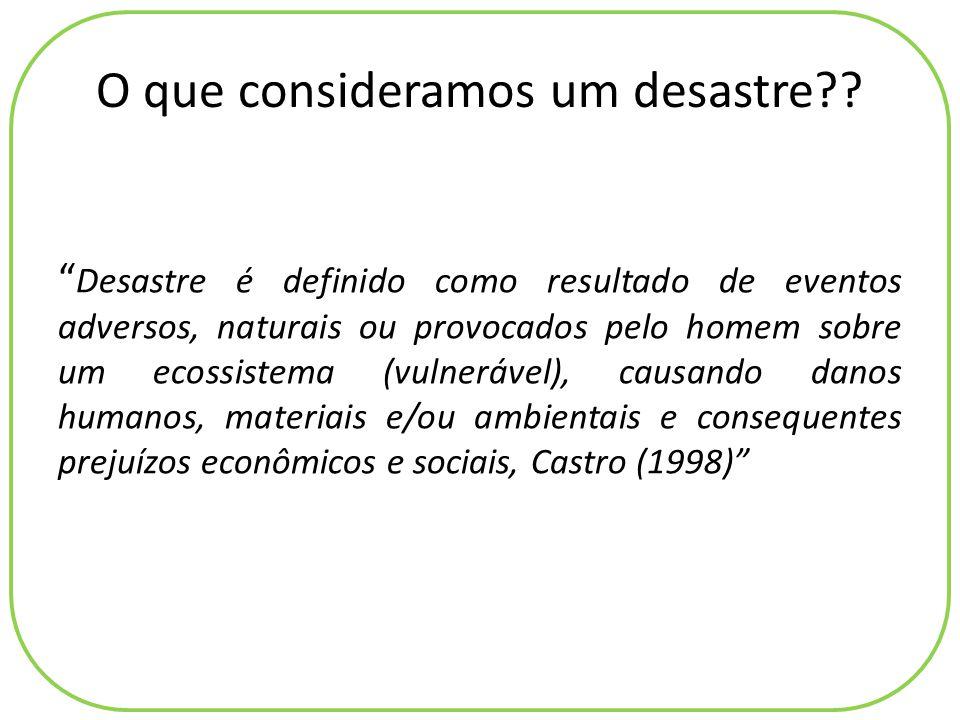 """O que consideramos um desastre?? """" Desastre é definido como resultado de eventos adversos, naturais ou provocados pelo homem sobre um ecossistema (vul"""