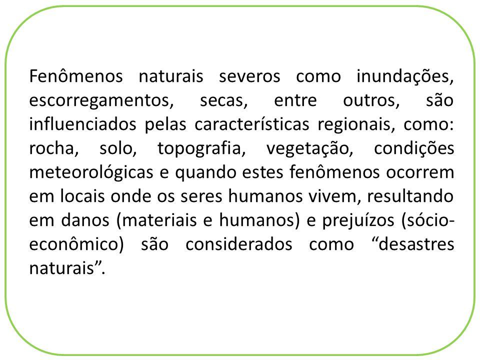 Fenômenos naturais severos como inundações, escorregamentos, secas, entre outros, são influenciados pelas características regionais, como: rocha, solo