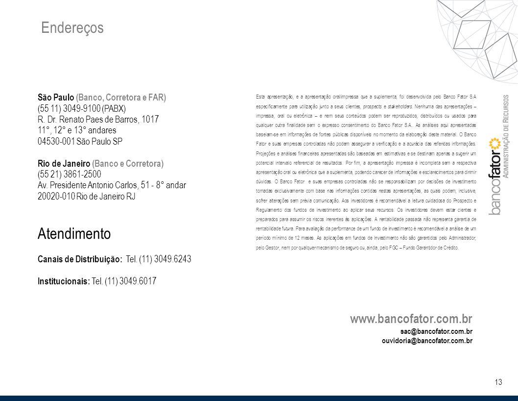 13 Endereços São Paulo (Banco, Corretora e FAR) (55 11) 3049-9100 (PABX) R.