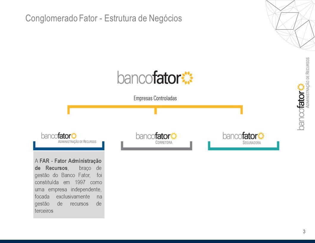 3 Conglomerado Fator - Estrutura de Negócios A FAR - Fator Administração de Recursos, braço de gestão do Banco Fator, foi constituída em 1997 como uma empresa independente, focada exclusivamente na gestão de recursos de terceiros