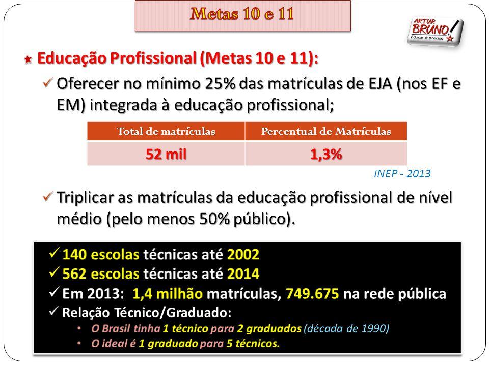 Educação Profissional (Metas 10 e 11): Oferecer no mínimo 25% das matrículas de EJA (nos EF e EM) integrada à educação profissional; Oferecer no mínim