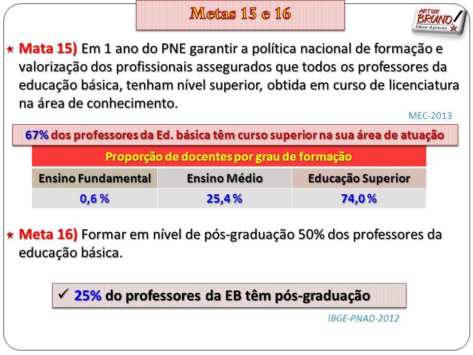 Mata 15) Em 1 ano do PNE garantir a política nacional de formação e valorização dos profissionais assegurados que todos os professores da educação bás