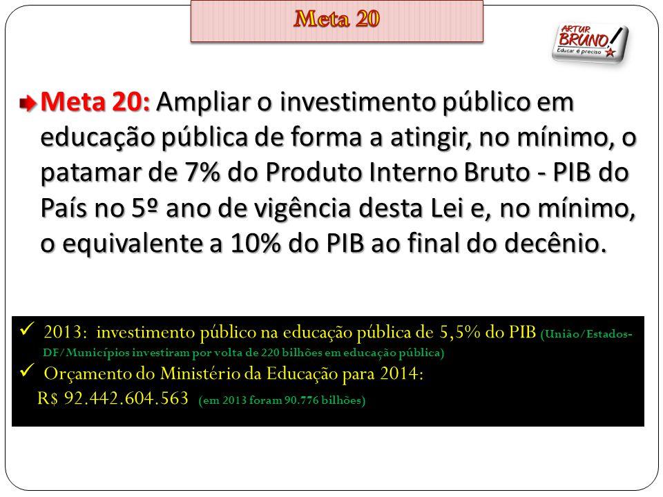 Meta 20: Ampliar o investimento público em educação pública de forma a atingir, no mínimo, o patamar de 7% do Produto Interno Bruto - PIB do País no 5