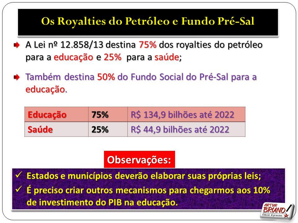 A Lei nº 12.858/13 destina 75% dos royalties do petróleo para a educação e 25% para a saúde; Também destina 50% do Fundo Social do Pré-Sal para a educ