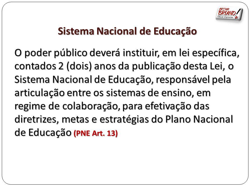 Sistema Nacional de Educação O poder público deverá instituir, em lei específica, contados 2 (dois) anos da publicação desta Lei, o Sistema Nacional d