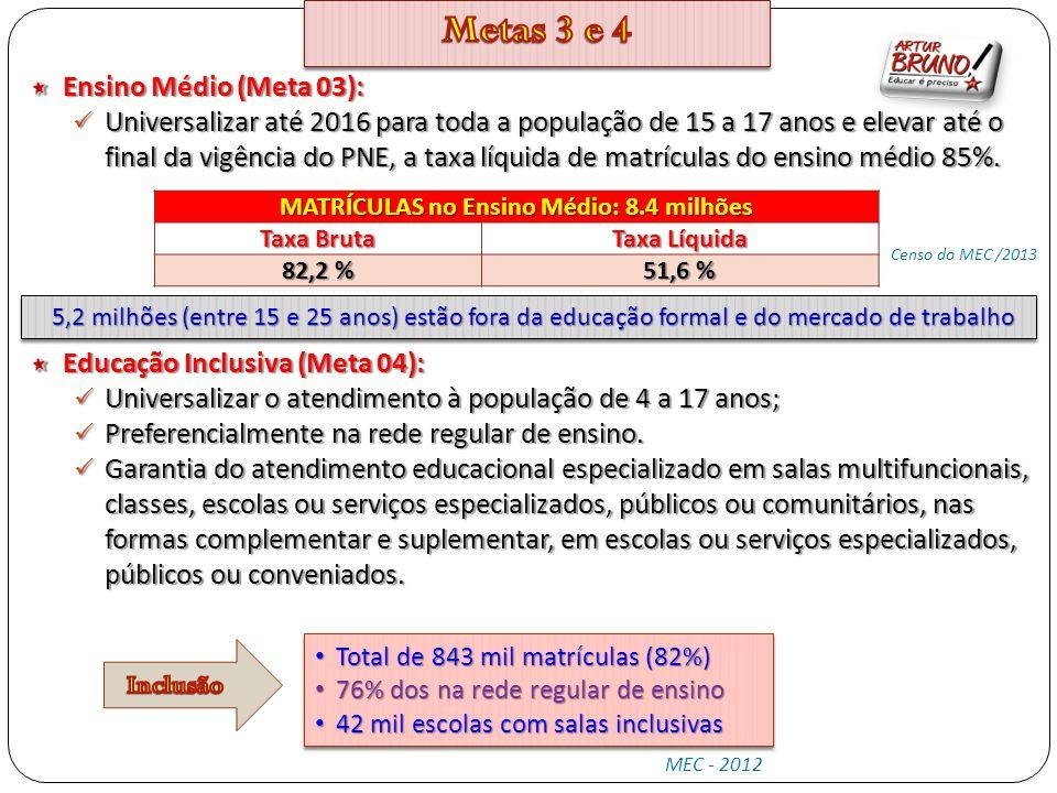 Ensino Médio (Meta 03): Universalizar até 2016 para toda a população de 15 a 17 anos e elevar até o final da vigência do PNE, a taxa líquida de matríc