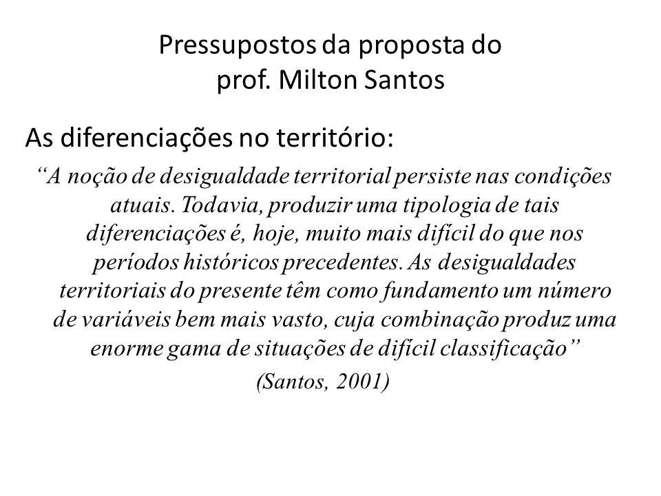 """Pressupostos da proposta do prof. Milton Santos As diferenciações no território: """"A noção de desigualdade territorial persiste nas condições atuais. T"""