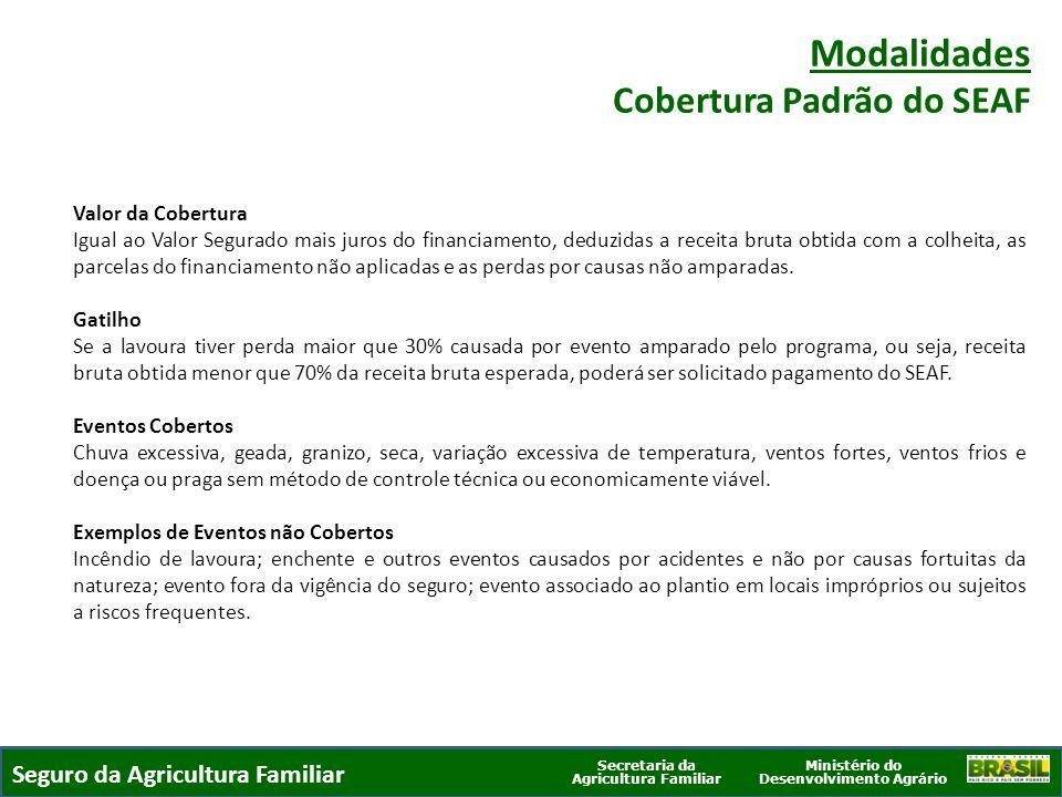 Ministério do Desenvolvimento Agrário Secretaria da Agricultura Familiar Valor da Cobertura Igual ao Valor Segurado mais juros do financiamento, deduz
