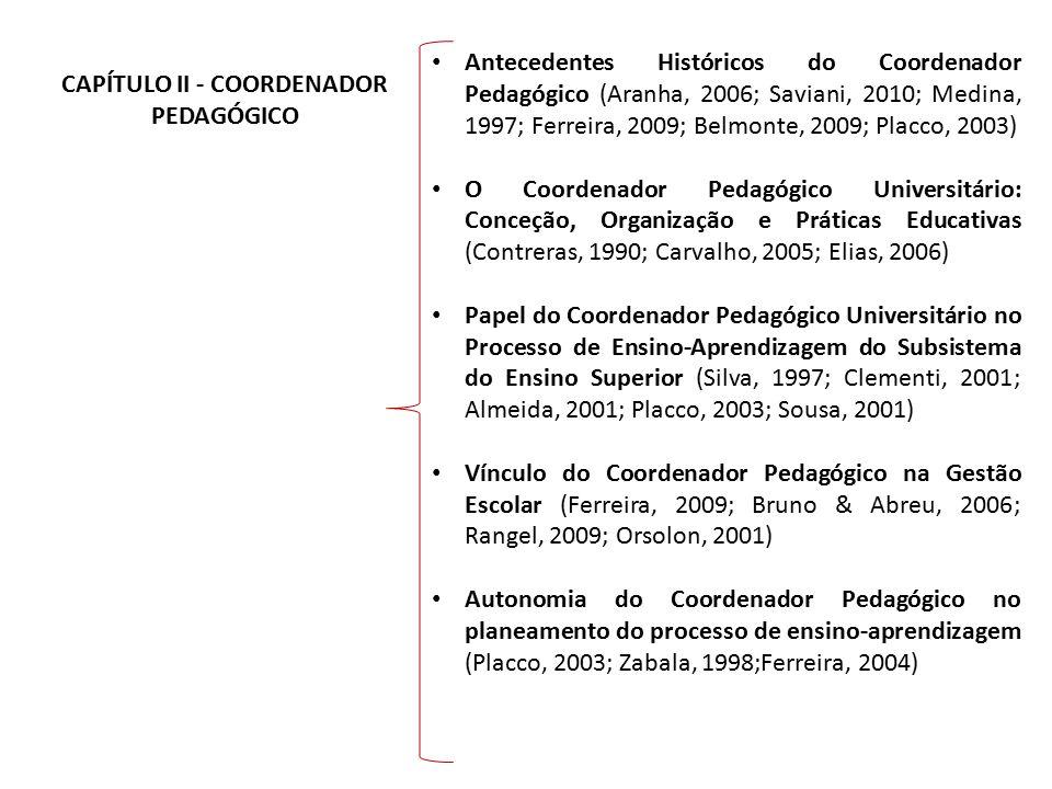 CAPÍTULO II - COORDENADOR PEDAGÓGICO Antecedentes Históricos do Coordenador Pedagógico (Aranha, 2006; Saviani, 2010; Medina, 1997; Ferreira, 2009; Bel