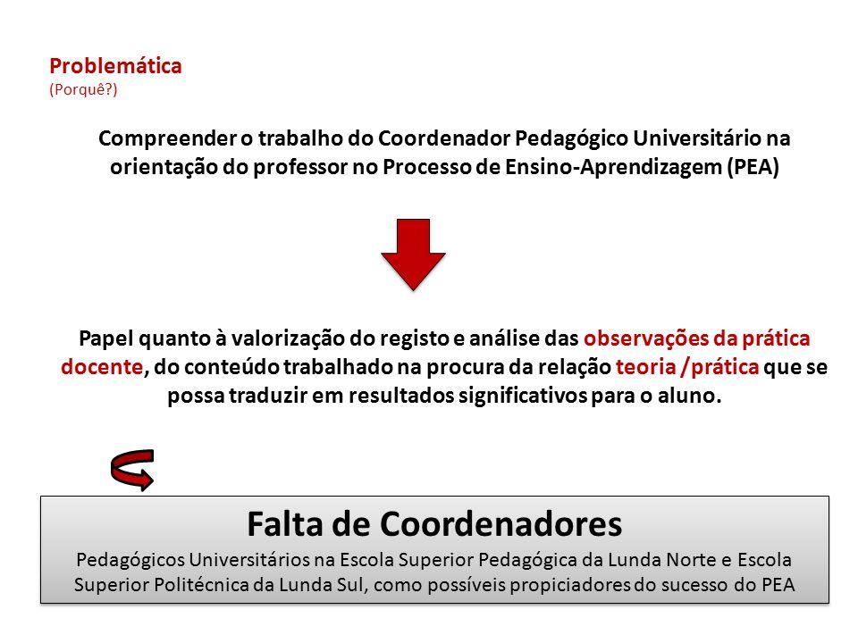 Problemática (Porquê?) Compreender o trabalho do Coordenador Pedagógico Universitário na orientação do professor no Processo de Ensino-Aprendizagem (P