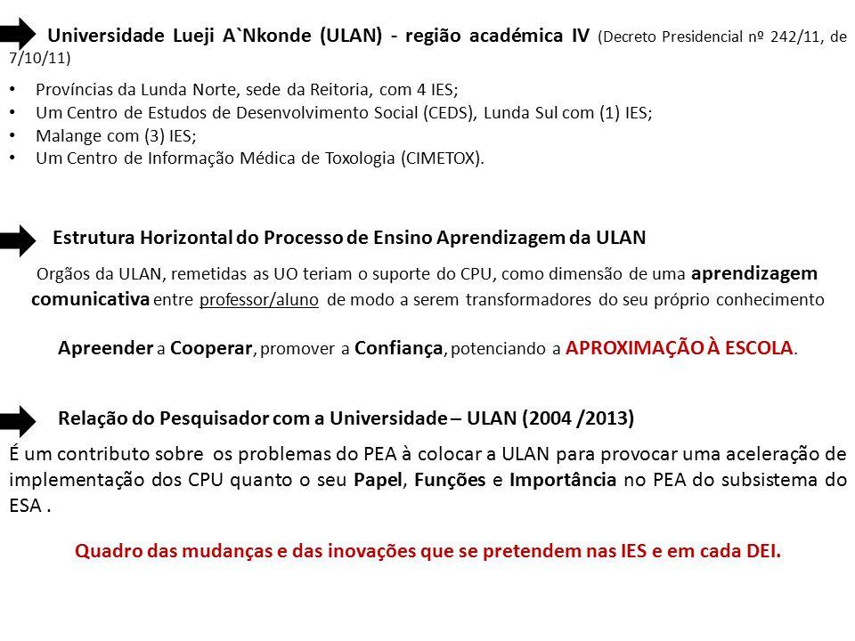 Universidade Lueji A`Nkonde (ULAN) - região académica IV (Decreto Presidencial nº 242/11, de 7/10/11) Províncias da Lunda Norte, sede da Reitoria, com