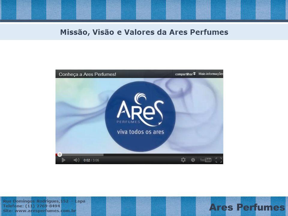 Rua Domingos Rodrigues,152 – Lapa Telefone: (11) 2769-8494 Site: www.aresperfumes.com.br Ares Perfumes Missão, Visão e Valores da Ares Perfumes