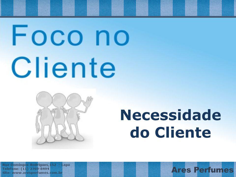 Rua Domingos Rodrigues,152 – Lapa Telefone: (11) 2769-8494 Site: www.aresperfumes.com.br Ares Perfumes Necessidade do Cliente