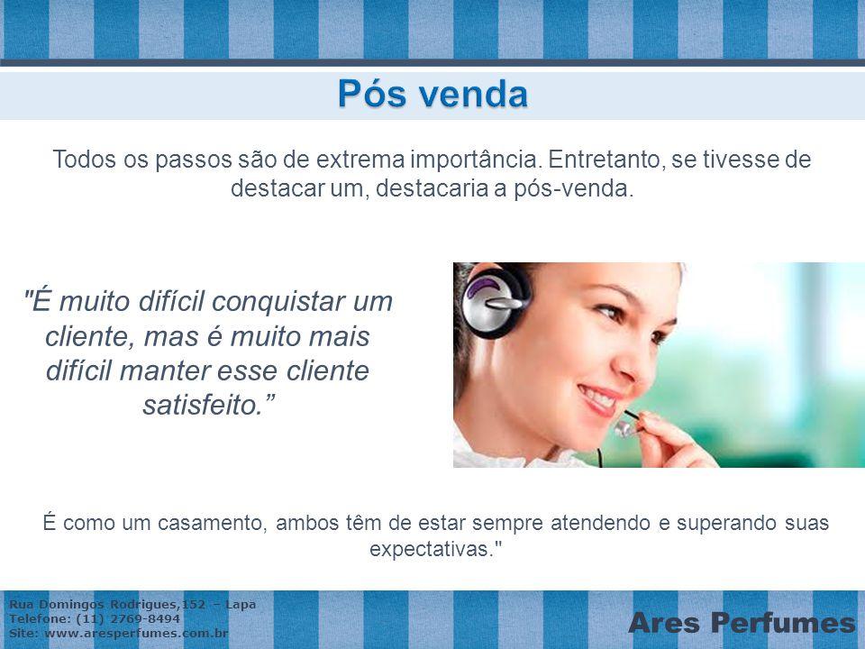 Rua Domingos Rodrigues,152 – Lapa Telefone: (11) 2769-8494 Site: www.aresperfumes.com.br Ares Perfumes Todos os passos são de extrema importância.
