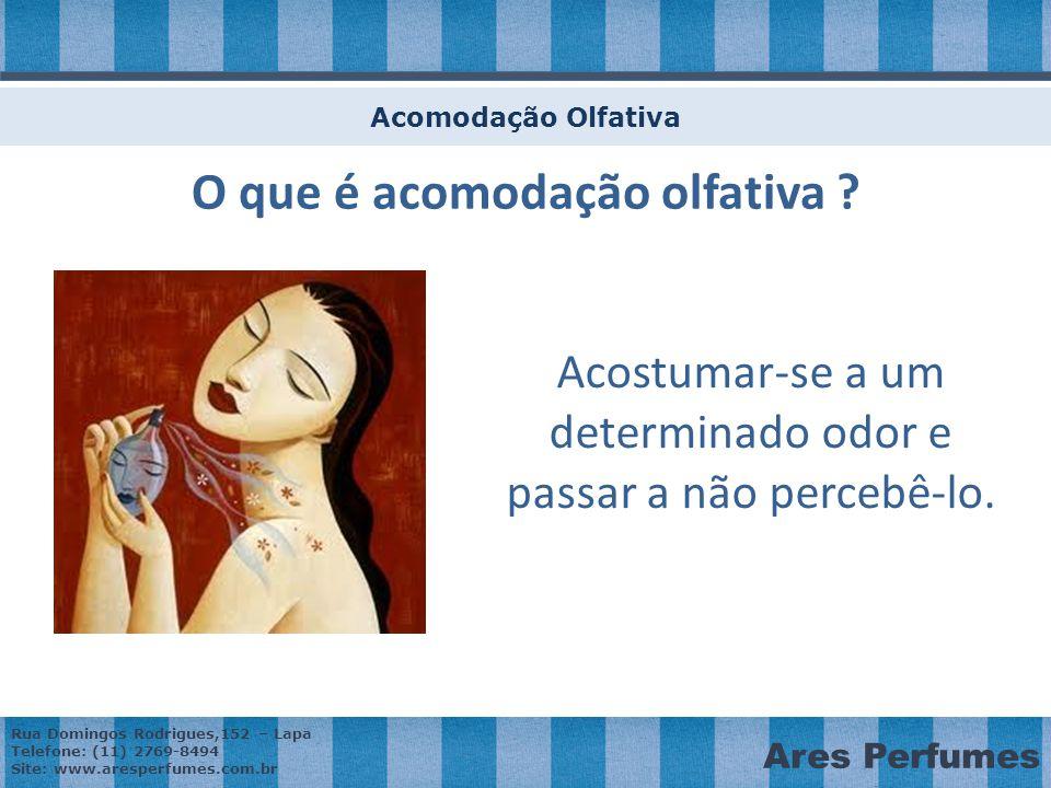 Rua Domingos Rodrigues,152 – Lapa Telefone: (11) 2769-8494 Site: www.aresperfumes.com.br Ares Perfumes Acomodação Olfativa Acostumar-se a um determinado odor e passar a não percebê-lo.