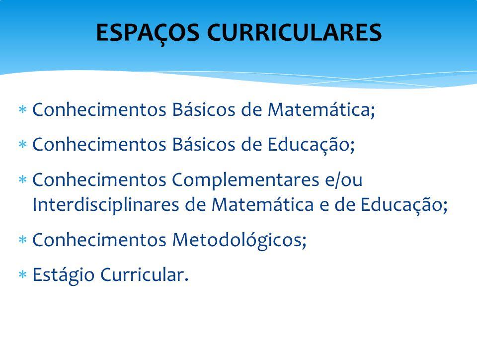  Conhecimentos Básicos de Matemática;  Conhecimentos Básicos de Educação;  Conhecimentos Complementares e/ou Interdisciplinares de Matemática e de
