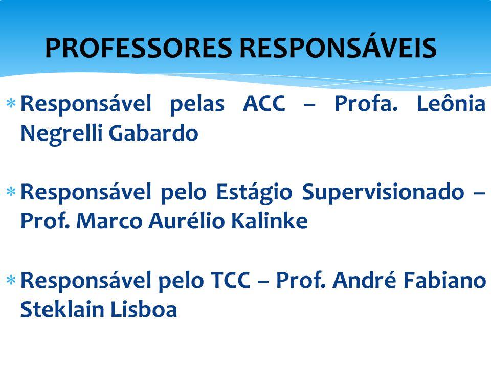  Responsável pelas ACC – Profa. Leônia Negrelli Gabardo  Responsável pelo Estágio Supervisionado – Prof. Marco Aurélio Kalinke  Responsável pelo TC