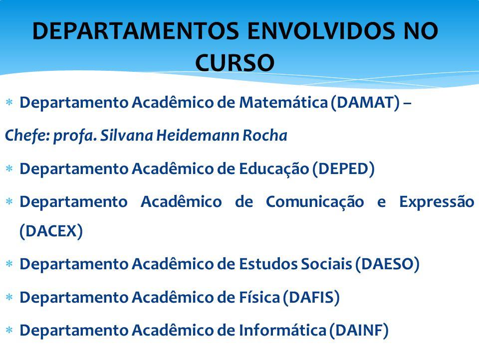  Departamento Acadêmico de Matemática (DAMAT) – Chefe: profa. Silvana Heidemann Rocha  Departamento Acadêmico de Educação (DEPED)  Departamento Aca