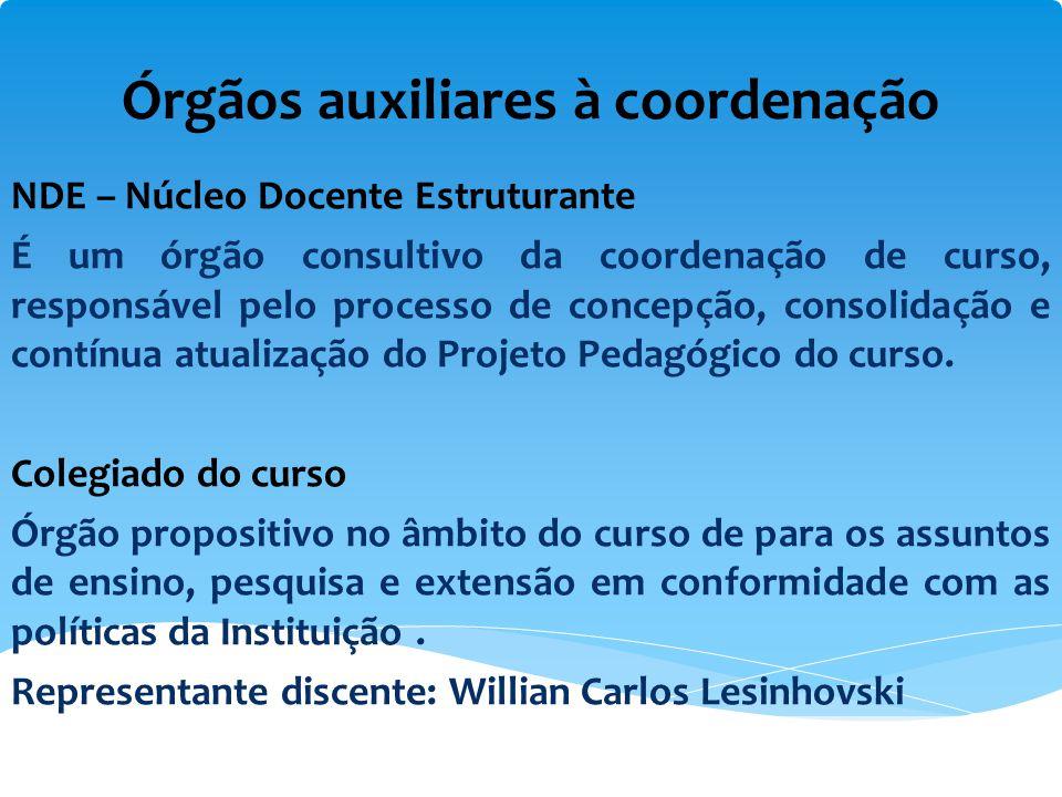 Órgãos auxiliares à coordenação NDE – Núcleo Docente Estruturante É um órgão consultivo da coordenação de curso, responsável pelo processo de concepçã