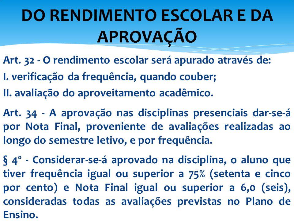 Art. 32 - O rendimento escolar será apurado através de: I. verificação da frequência, quando couber; II. avaliação do aproveitamento acadêmico. Art. 3