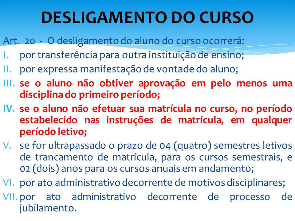 Art. 20 - O desligamento do aluno do curso ocorrerá: I.por transferência para outra instituição de ensino; II.por expressa manifestação de vontade do