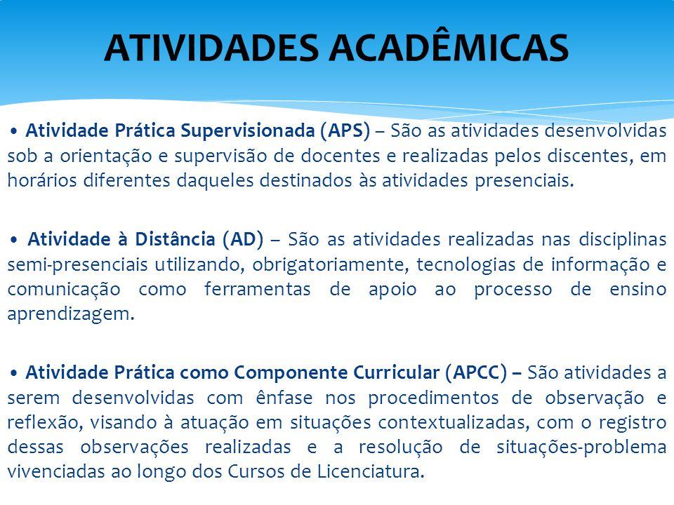 Atividade Prática Supervisionada (APS) – São as atividades desenvolvidas sob a orientação e supervisão de docentes e realizadas pelos discentes, em ho