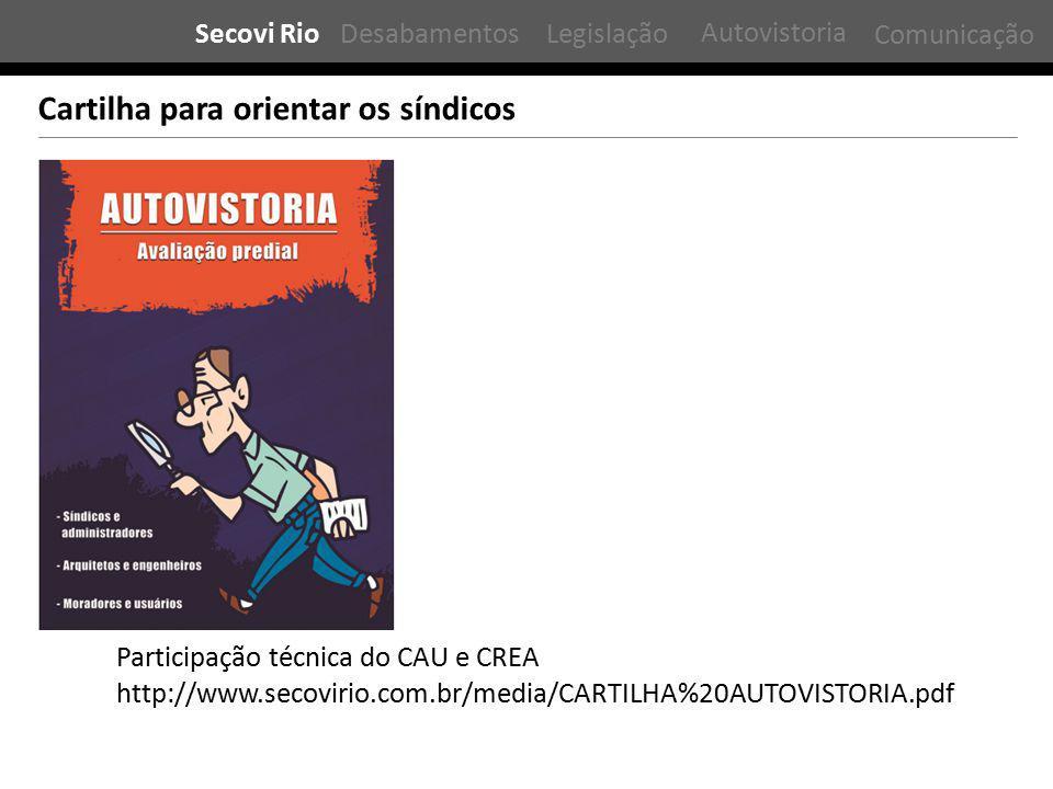 Participação técnica do CAU e CREA Cartilha para orientar os síndicos http://www.secovirio.com.br/media/CARTILHA%20AUTOVISTORIA.pdf Secovi RioDesabamentosLegislação Comunicação Autovistoria