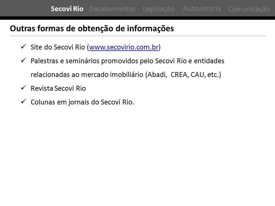 Outras formas de obtenção de informações Site do Secovi Rio (www.secovirio.com.br)www.secovirio.com.br Palestras e seminários promovidos pelo Secovi R