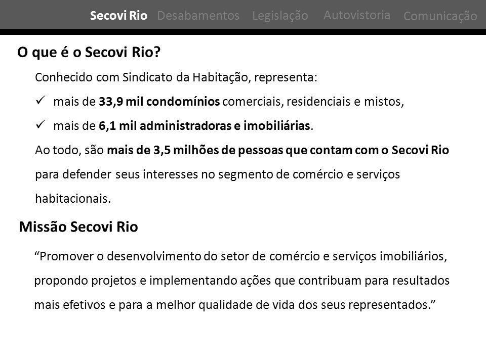 Secovi RioDesabamentosLegislação Comunicação O que é o Secovi Rio? Conhecido com Sindicato da Habitação, representa: mais de 33,9 mil condomínios come
