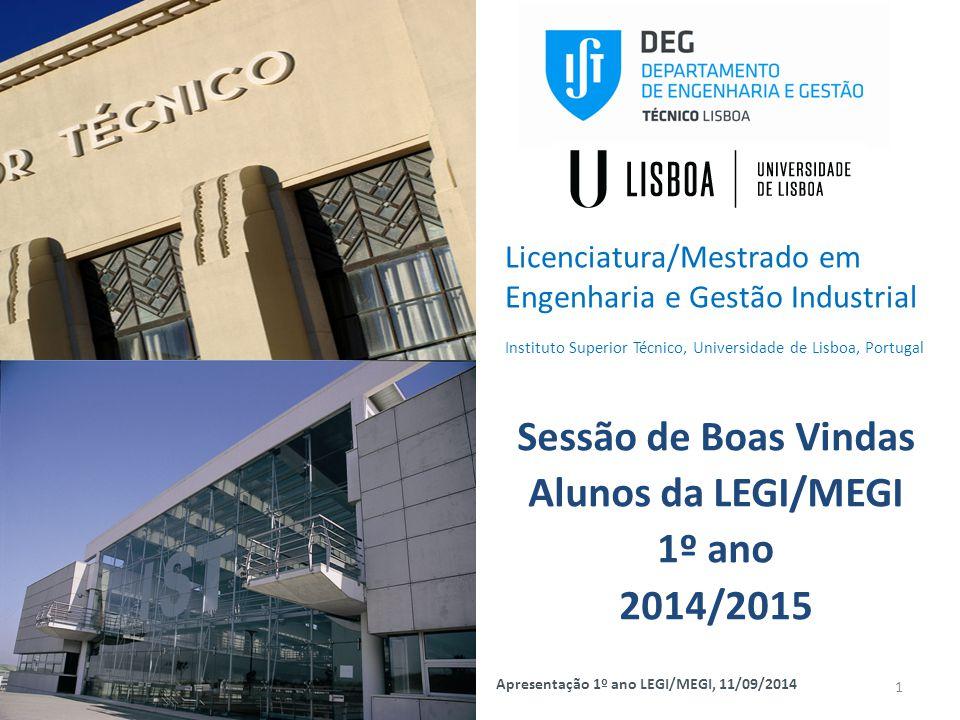Sessão de Boas Vindas Alunos da LEGI/MEGI 1º ano 2014/2015 1 Apresentação 1º ano LEGI/MEGI, 11/09/2014 Licenciatura/Mestrado em Engenharia e Gestão In