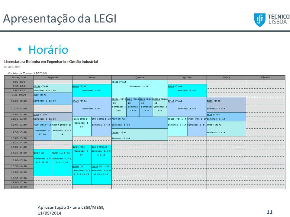 Apresentação 1º ano LEGI/MEGI, 11/09/2014 11 Horário Apresentação da LEGI
