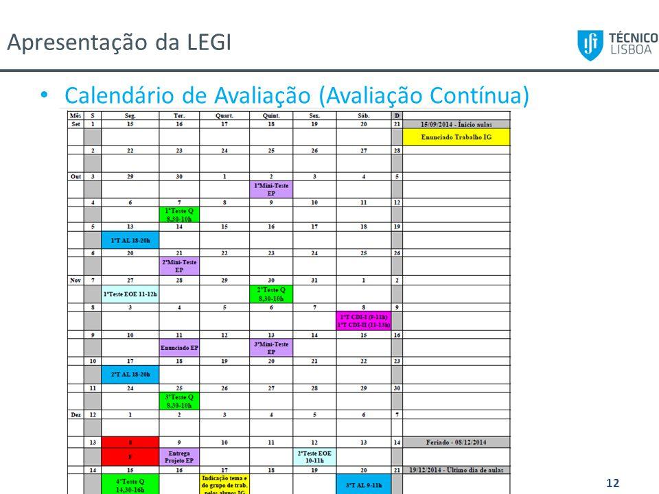 Apresentação 1º ano LEGI/MEGI, 11/09/2014 12 Calendário de Avaliação (Avaliação Contínua) Apresentação da LEGI