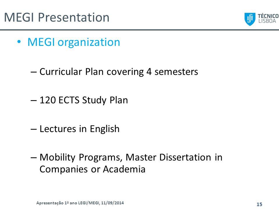 MEGI Presentation Apresentação 1º ano LEGI/MEGI, 11/09/2014 15 MEGI organization – Curricular Plan covering 4 semesters – 120 ECTS Study Plan – Lectur