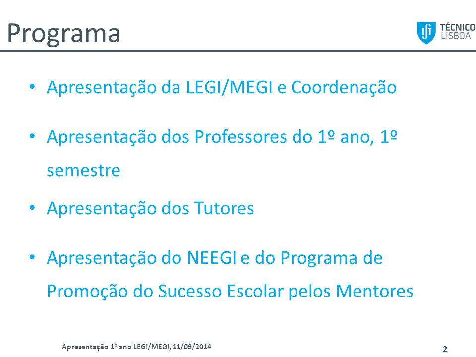 Programa Apresentação da LEGI/MEGI e Coordenação Apresentação dos Professores do 1º ano, 1º semestre Apresentação dos Tutores Apresentação do NEEGI e