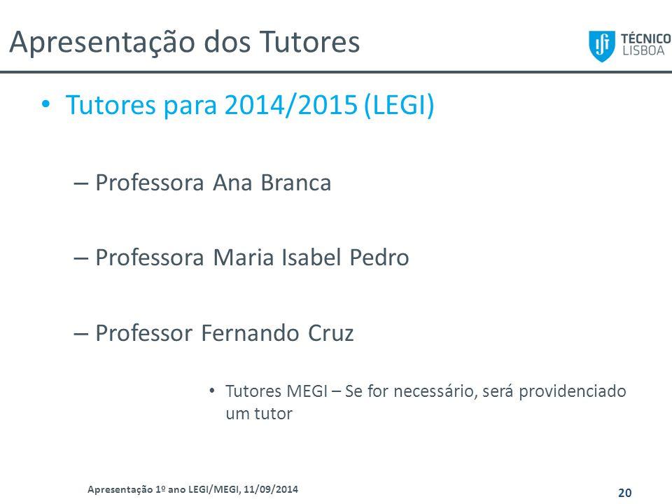 Apresentação dos Tutores Apresentação 1º ano LEGI/MEGI, 11/09/2014 20 Tutores para 2014/2015 (LEGI) – Professora Ana Branca – Professora Maria Isabel