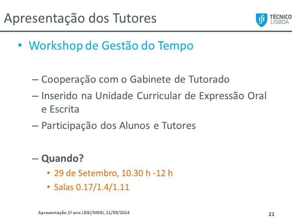 Apresentação dos Tutores Apresentação 1º ano LEGI/MEGI, 11/09/2014 21 Workshop de Gestão do Tempo – Cooperação com o Gabinete de Tutorado – Inserido n