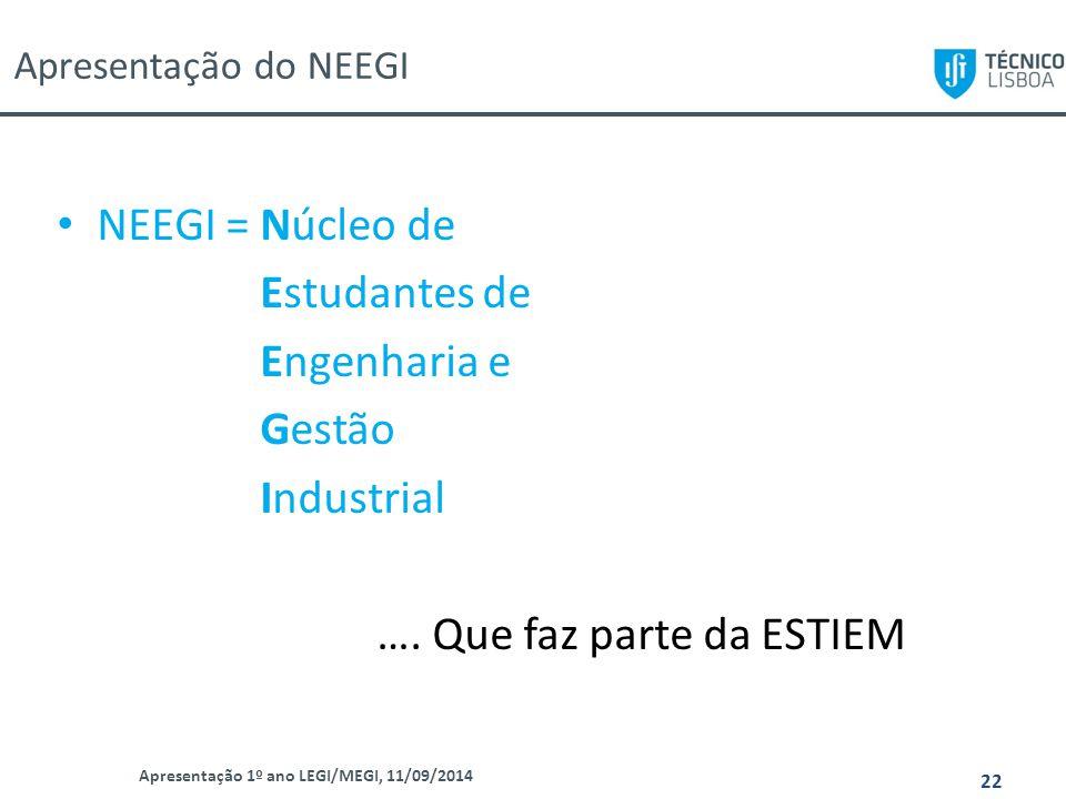 Apresentação do NEEGI Apresentação 1º ano LEGI/MEGI, 11/09/2014 22 NEEGI = Núcleo de Estudantes de Engenharia e Gestão Industrial …. Que faz parte da